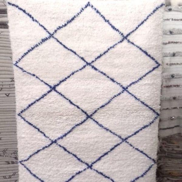 tapis beni ouarain losanges bleus - Tapis Beni Ouarain